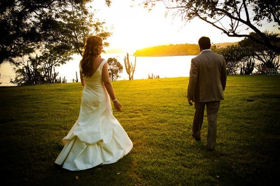 Romantic wedding photo in St. John during sunset