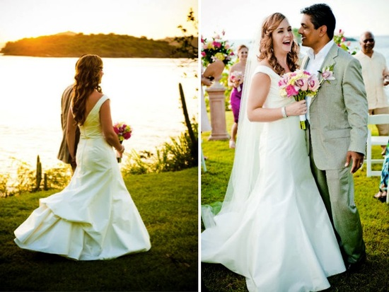 Bride and groom celebrate after saying I Do at beach wedding ceremony