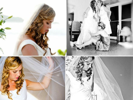 Beach bride puts on classic bridal veil before heading to ceremony
