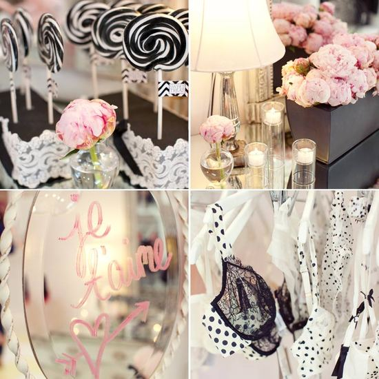 Black white and light pink bachelorette party decor and peony centerpieces