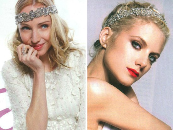 Bohemian chic embellished bridal headband