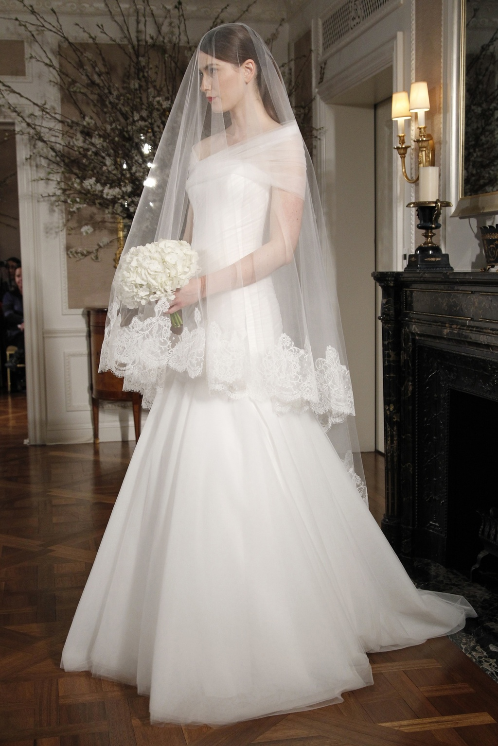 Simple Ivory A Line Wedding Dress With Sheer Off The