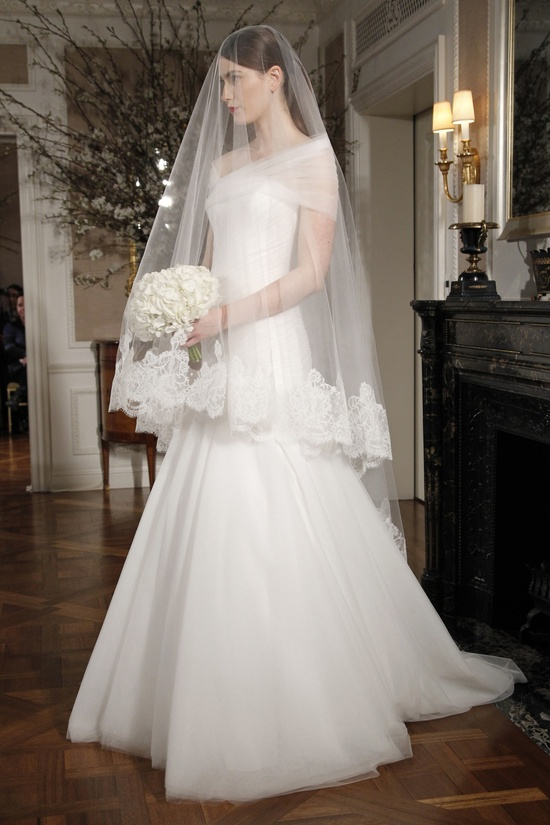 Simple ivory a-line wedding dress with sheer off-the-shoulder sleeves