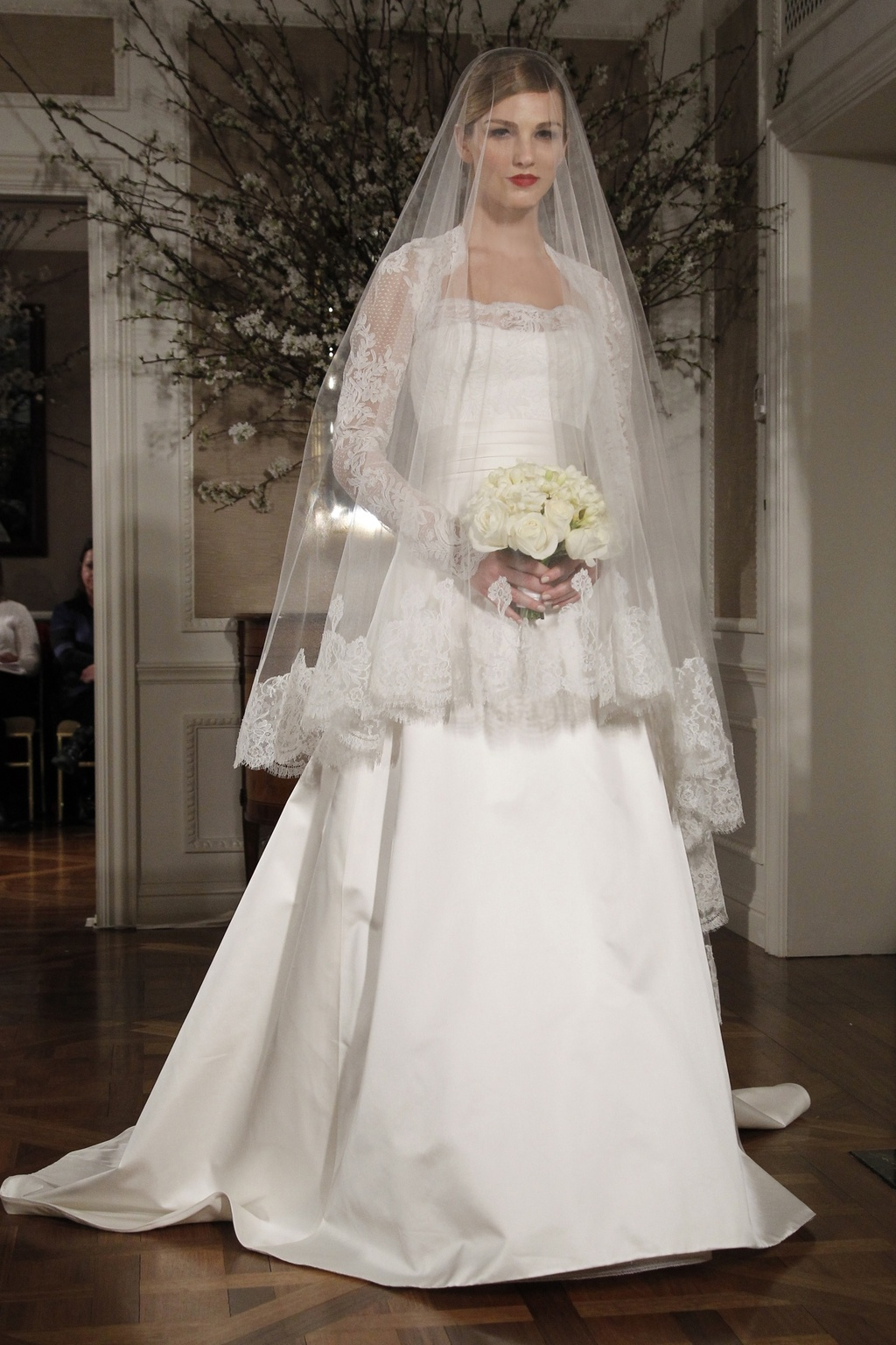Square neck a-line Legends by Romona Keveza wedding dress with lace ...
