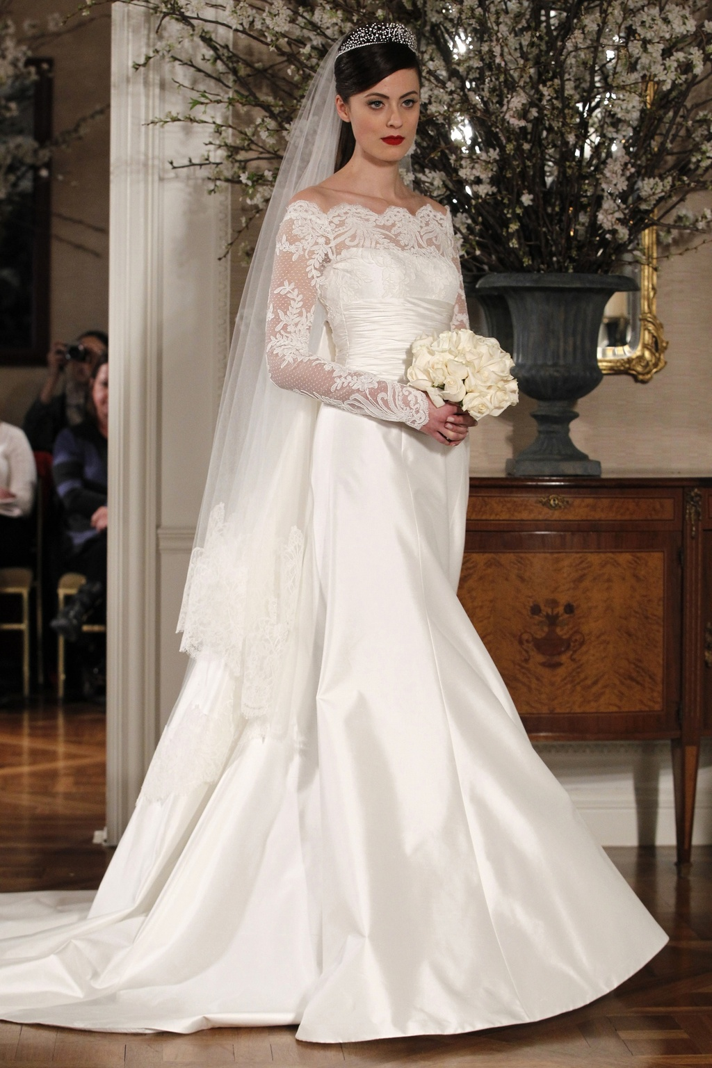ivory a-line bateau neck wedding dress with sheer lace sleeves