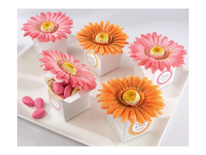 Spring wedding guest favors in gerbera daisy favor boxes junglespirit Choice Image