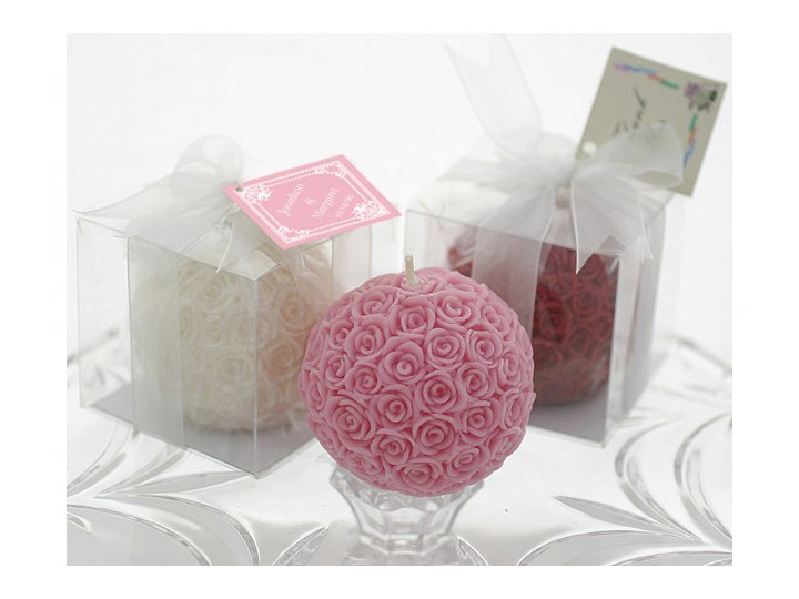 Romantic rose candles for wedding guest favors