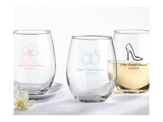 Chic stemless wine glasses for wedding guest favors