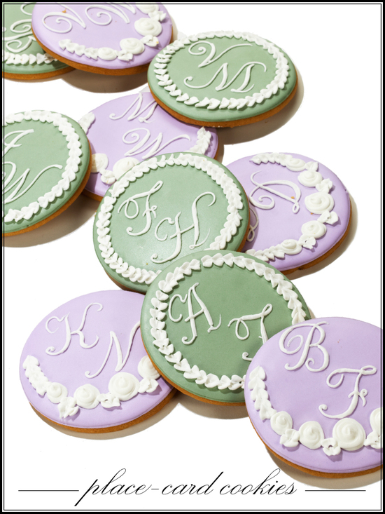 Pastel monogrammed wedding cookies for guest escort cards