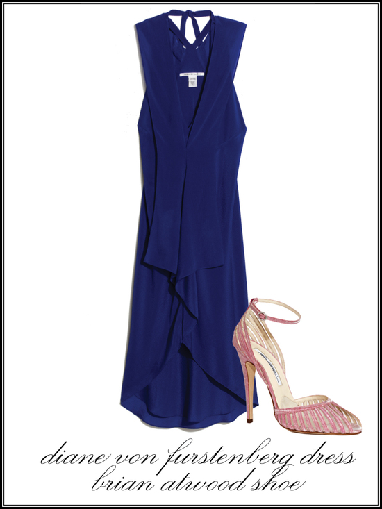 Navy blue bridesmaid dress with closed toe blush heels