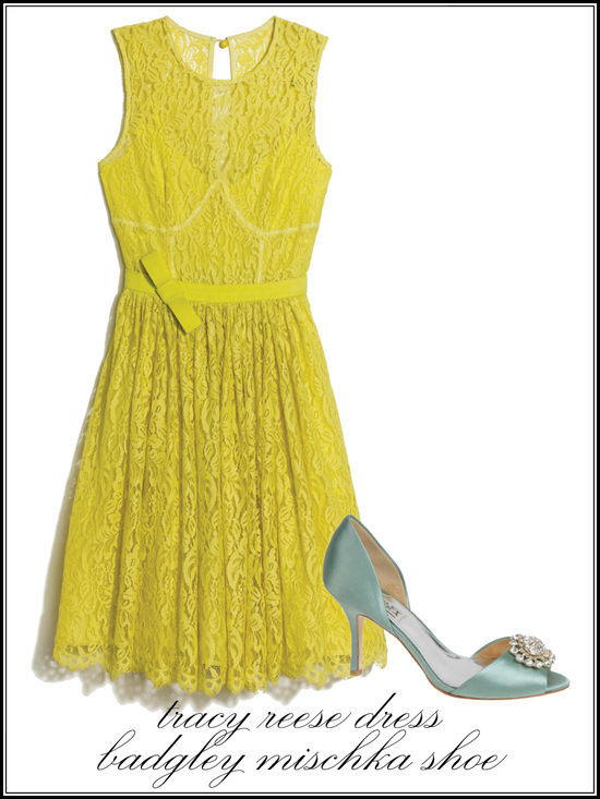 Yellow lace bridesmaid dress and satin Badgley Mischka wedding heels