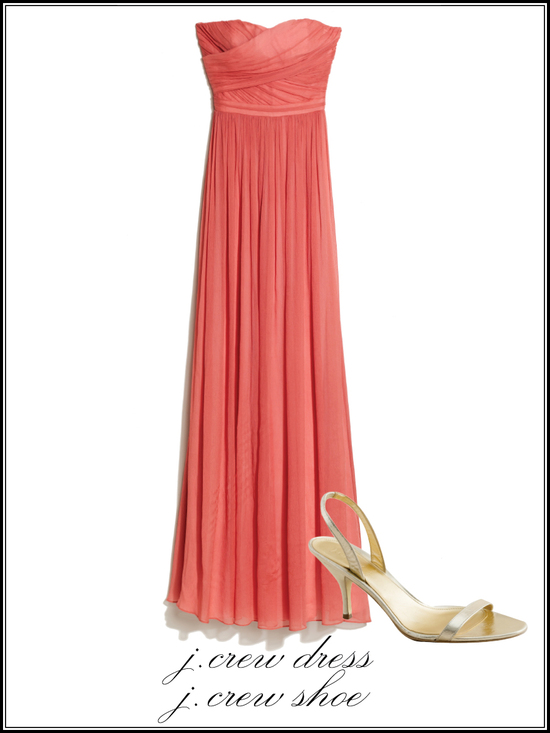 Full-length coral bridesmaid dress