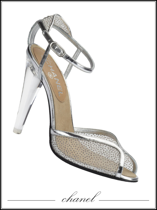 Chanel bridal heels with clear glass heel