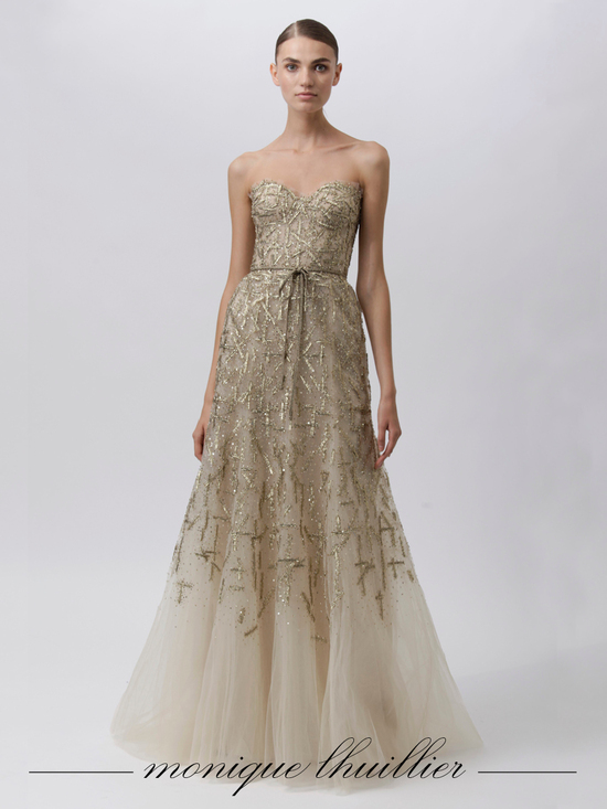 Champagne a-line Monique Lhuillier bridal gown