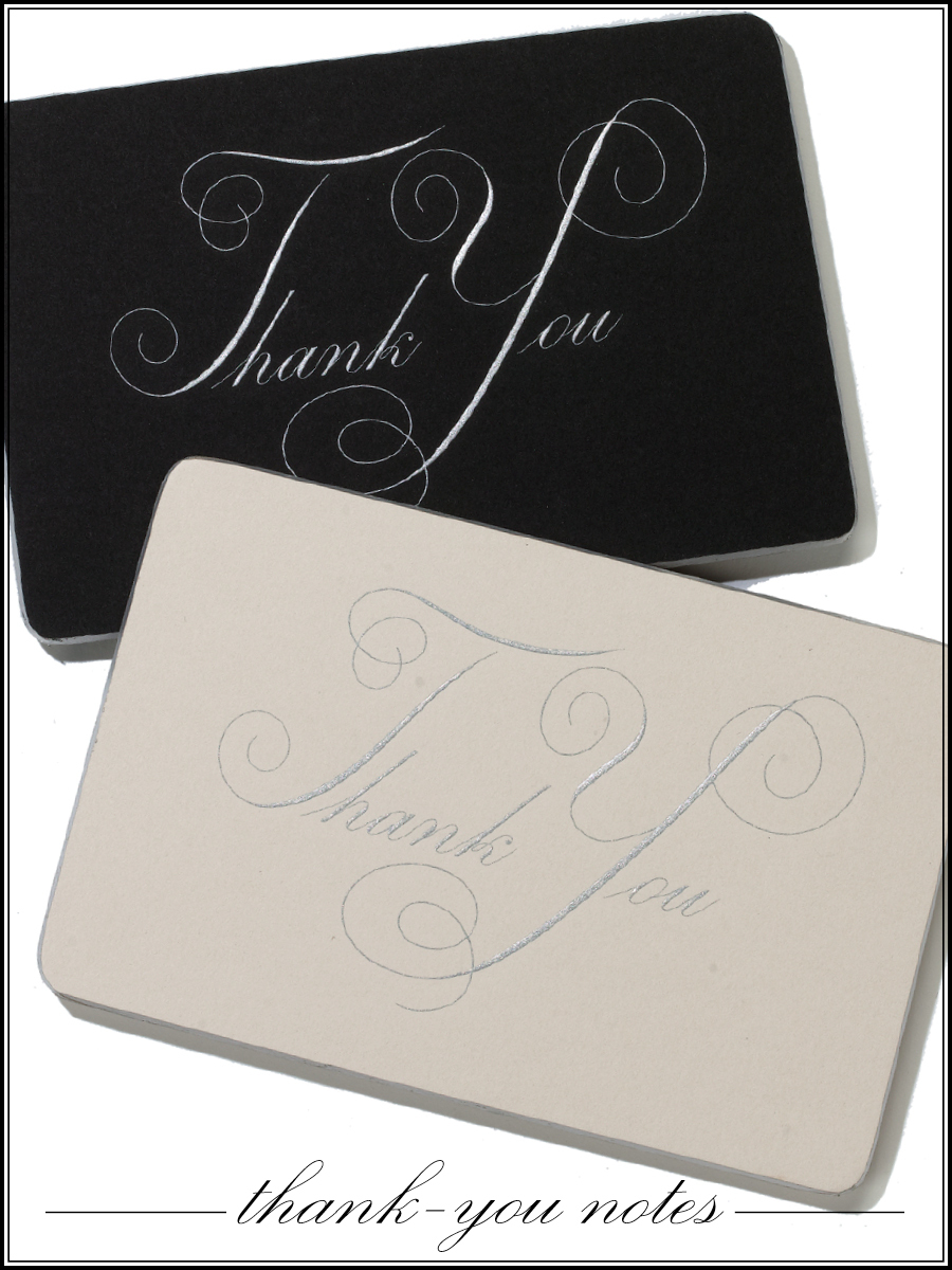 Chic black and white wedding thank you cards