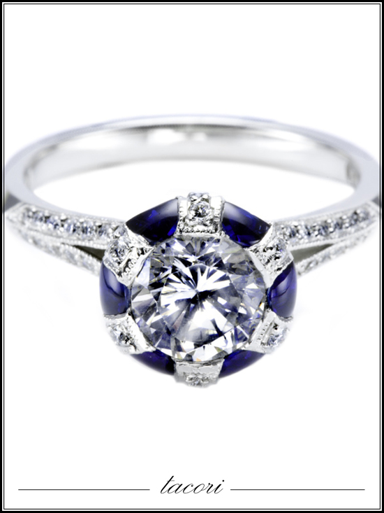 Platinum Tacori engagement ring with diamonds and sapphire stones