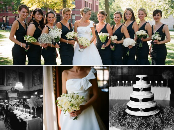 Chic black and white wedding with unique white and ivory bouquets mightylinksfo
