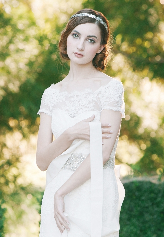 Enchanted Atelier Wedding Veils and Hair Accessories - Martine sash and Mademoiselle headband