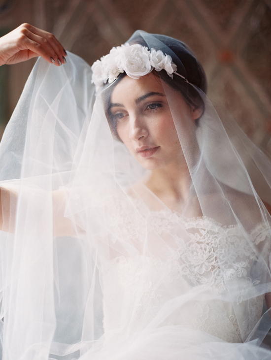 Enchanted Atelier Wedding Veils and Hair Accessories - Veil with Floral Crown