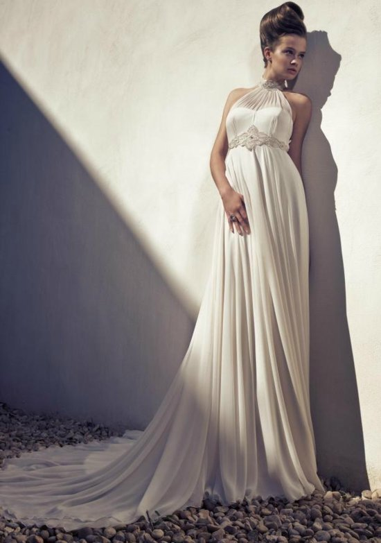 Grecian-inspired halter wedding dress