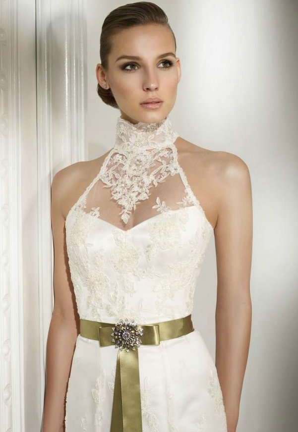 Lace wedding dress with sheer lace halter neckline