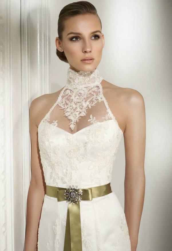 Lace-wedding-dress-halter-bridal-gown-satin-sash.full
