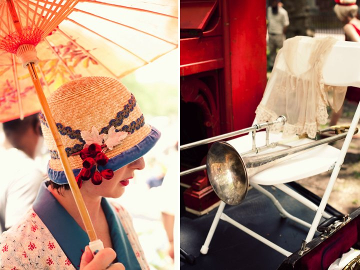 Vintage-inspired 1920's wedding guest attire and decor