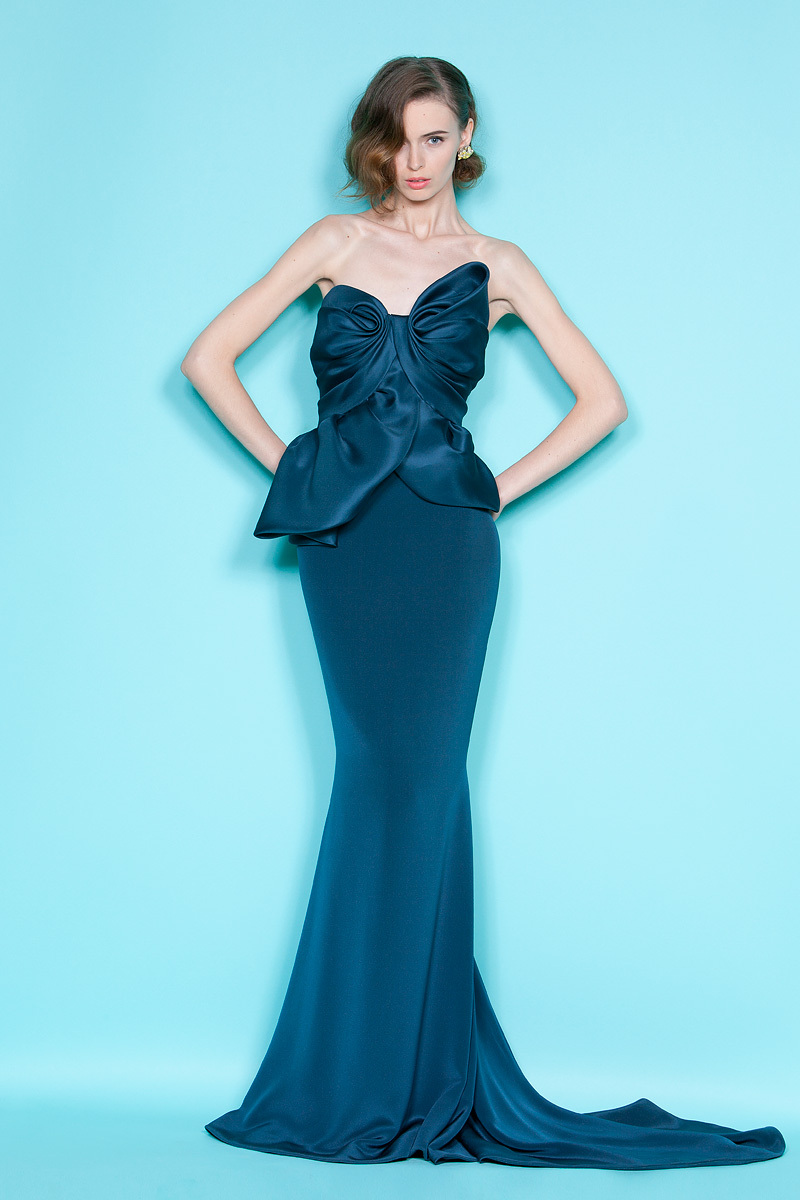 deep ocean blue mermaid bridesmaid dress by Marchesa