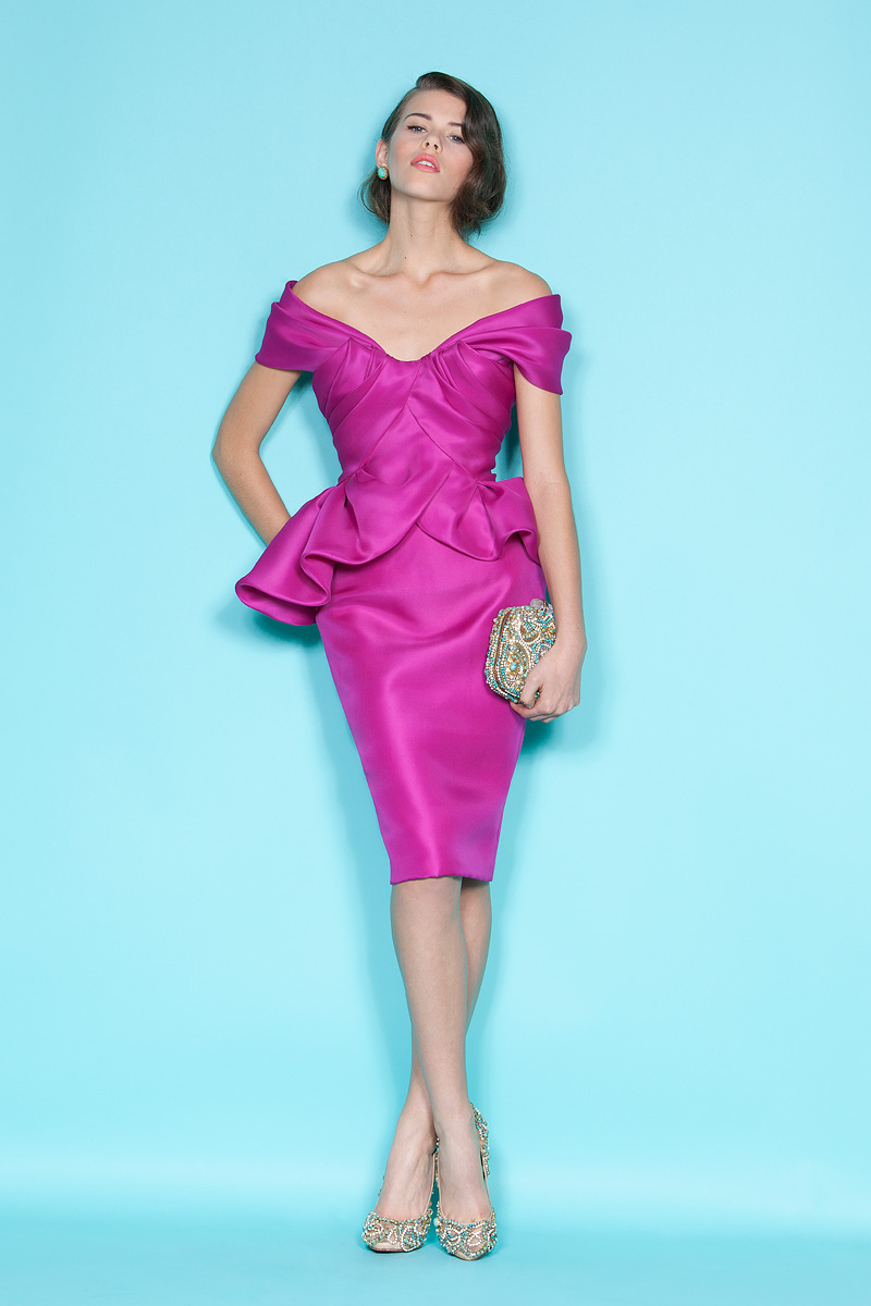 Off-the-shoulder fuchsia bridesmaid dress by Marchesa ...
