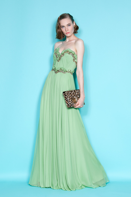 Celery green chiffon bridesmaids dress with beaded belt by Marchesa