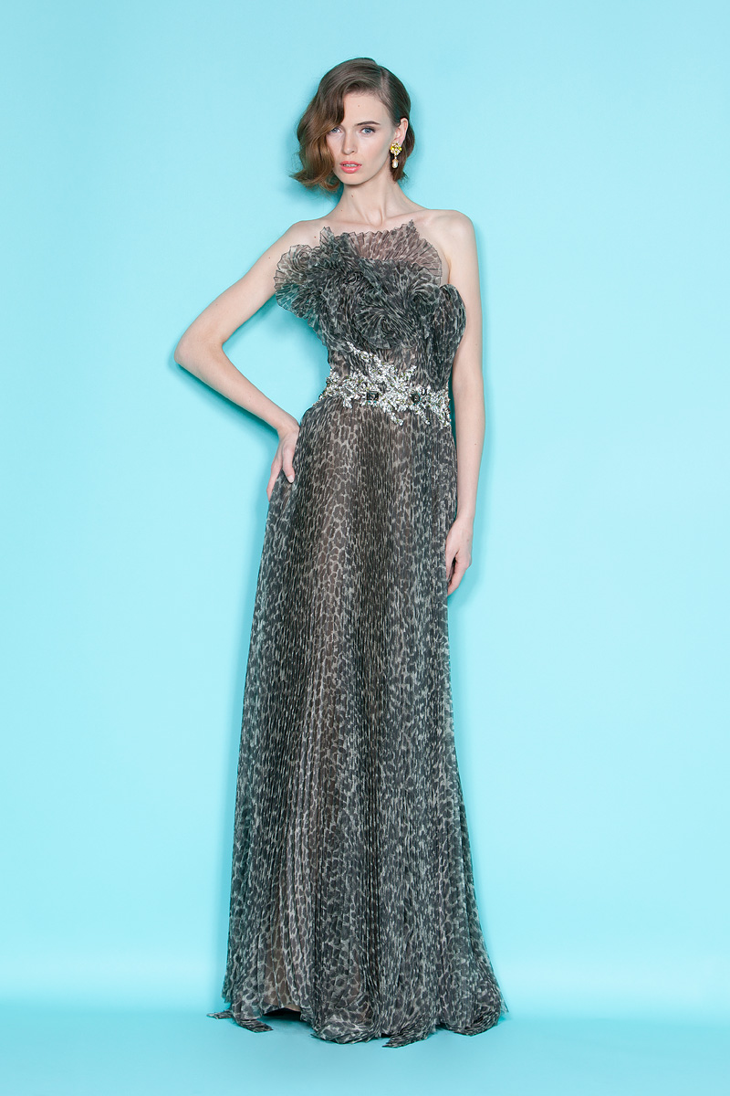 On Trend Animal Print Marchesa Bridesmaid Gown