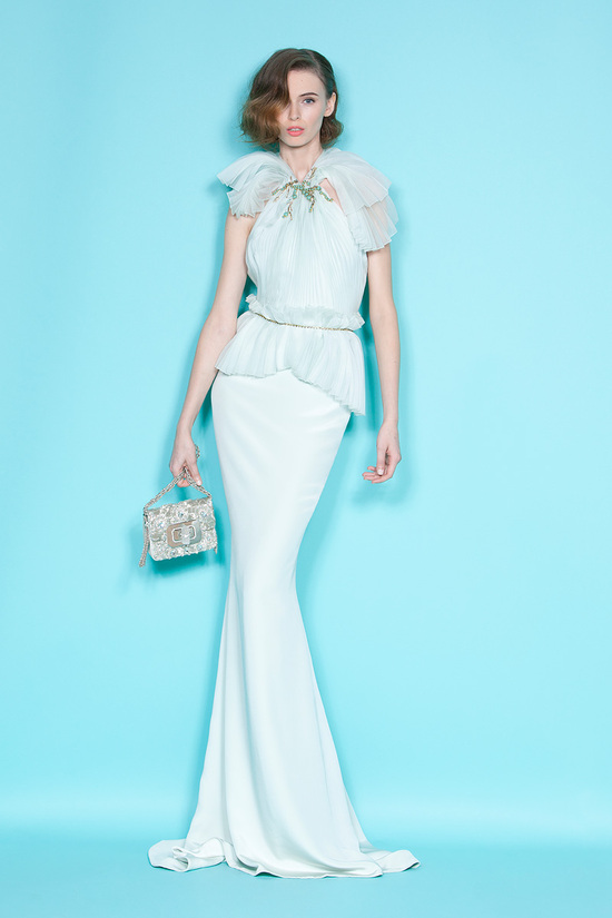 Vintage-inspired white mermaid Marchesa wedding dress