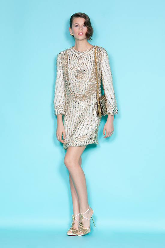 Sleeved shift dress with gold beading by Marchesa