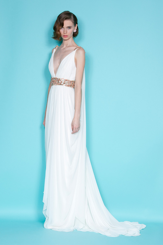 Grecian-inspired white Marchesa wedding dress with gilded belt