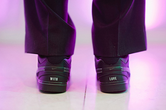 custom wedding Nikes featuring With Love on heels