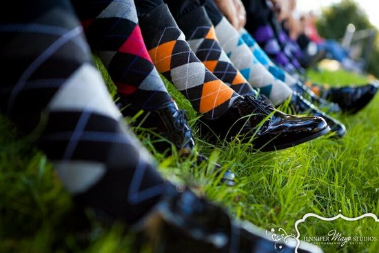 mix and match argyle socks for groomsmen