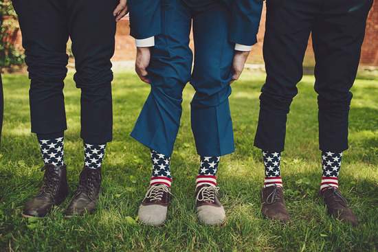 patriotic socks on groom and groomsmen