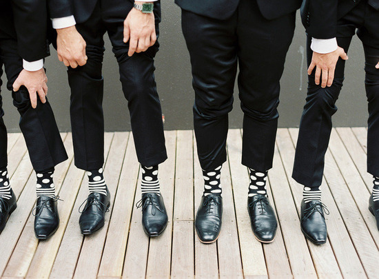 modern stripes and polka dots groomsmen socks