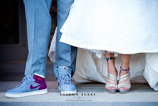 retro Nikes on stylish groom