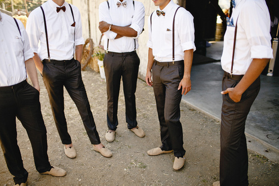 dapper vintage groomsmen wear tan TOMS