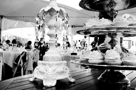 Artistic black and white wedding reception photo
