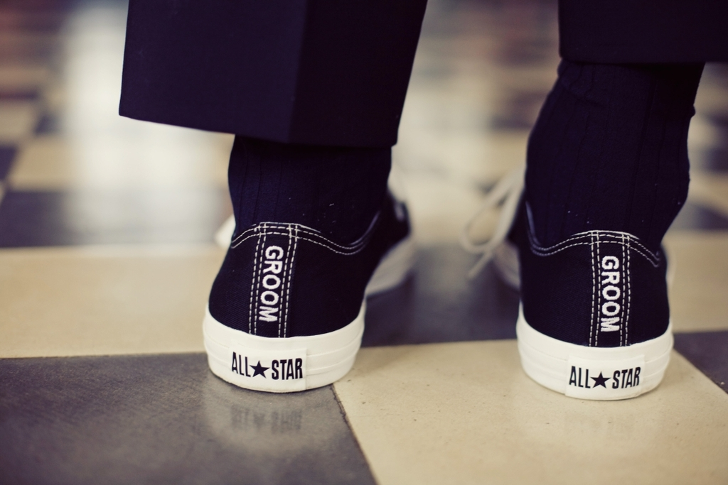 custom groom converse in black and white