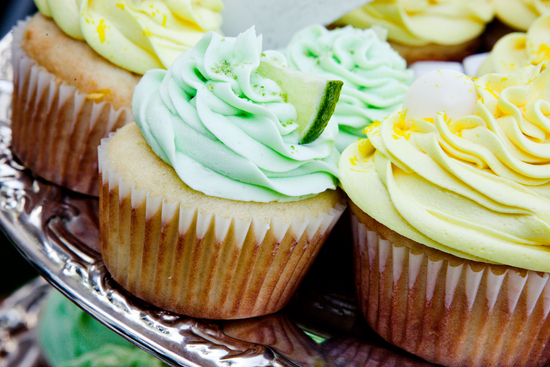 Yellow and green wedding cupcakes
