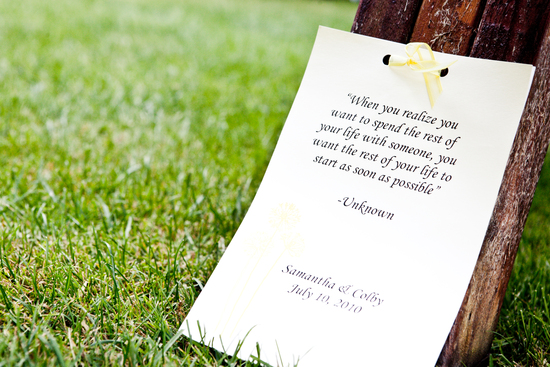 Romantic quote on outdoor wedding ceremony programs