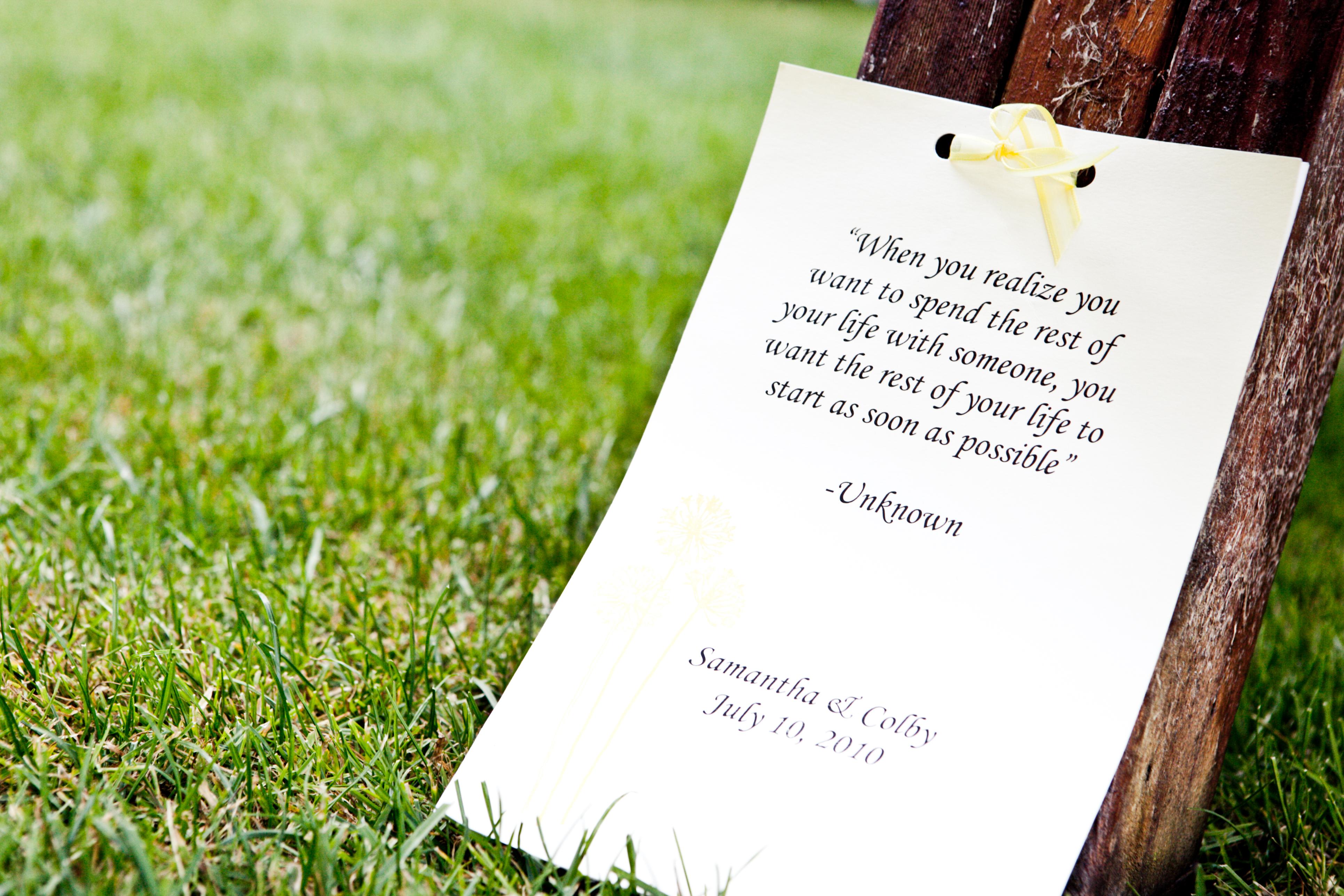 Romantic Quote On Outdoor Wedding Ceremony Programs