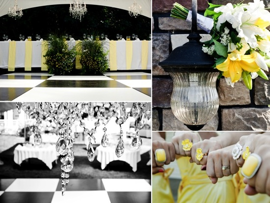 Yellow and white with pops of green outdoor summer wedding color palette