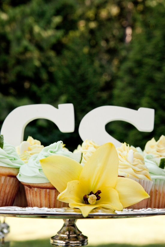 Casual wedding cupcakes, monogram wedding reception decor