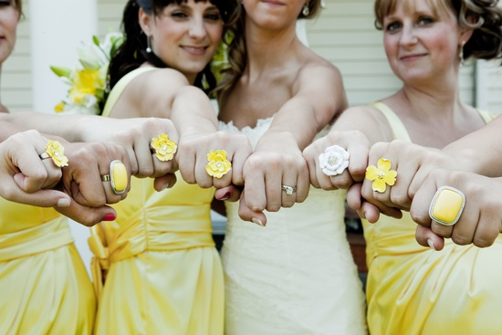 Mellow yellow bridesmaids dresses and chic wedding jewelry