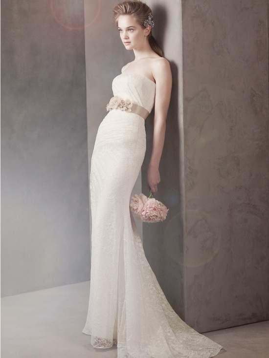 Romantic lace column gown with bridal belt by Vera Wang