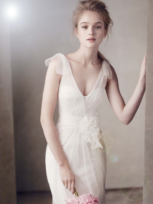 V-neck wedding dress with sheer illusion straps